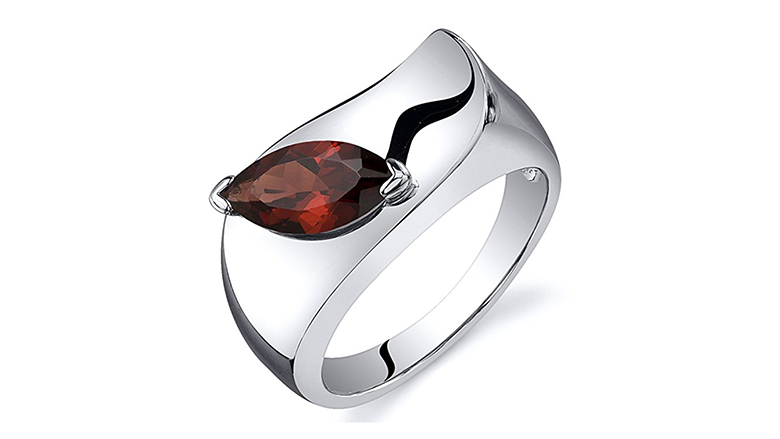 Marquise shaped garnet and sterling silver ring