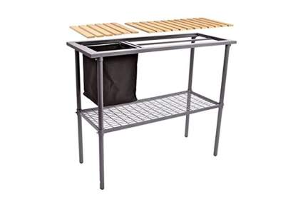 metal potting bench with wood slats