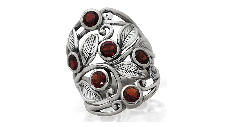 natural garnet and silver filigree leaf ring