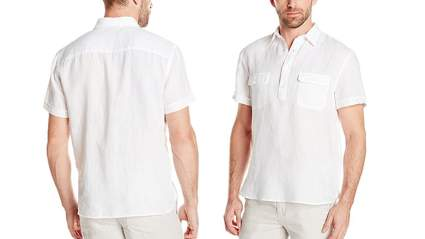 perry ellis mens short sleeve solid linen popover shirt