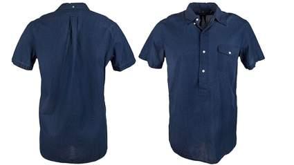 ralph lauren mens indigo dyed chambray short sleeve shirt