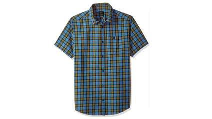 rvca mens thatll do plaid short sleeve woven shirt