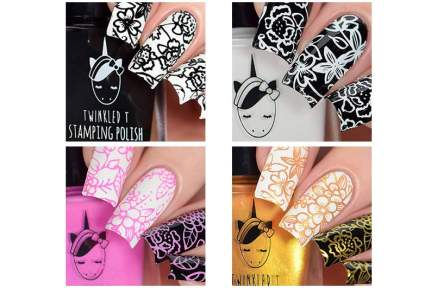Four squares of twinkled t stamping polish swatches
