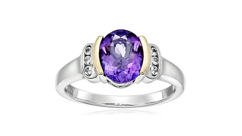 sterling silver & 14k Gold oval amethyst ring with white topaz accents