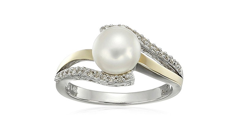 silver and gold split shank freshwater pearl and diamond ring