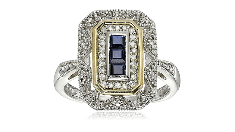 sterling silver and 14k gold natural sapphire art deco ring with diamond accents