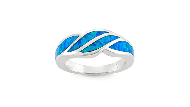 sterling silver and created blue opal inlay band ring