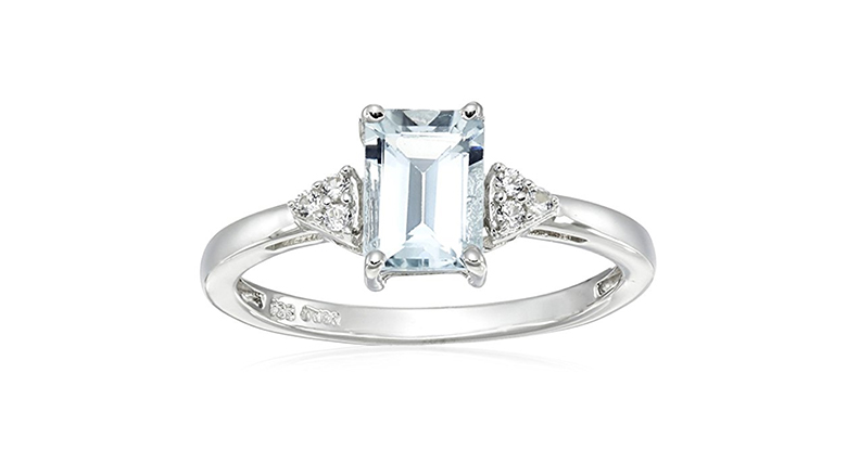 Emerald cut aquamarine and created white sapphire silver ring
