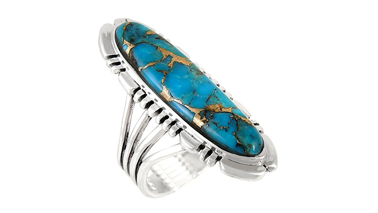 Sterling silver and genuine turquoise southwest inspired ring