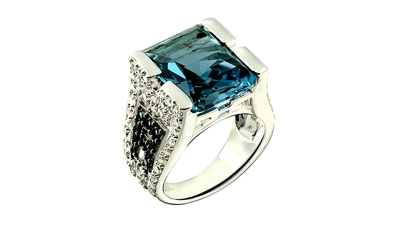 sterling silver London blue topaz baroque ring with pave accents