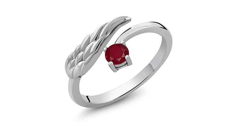 sterling silver wing ring with red ruby