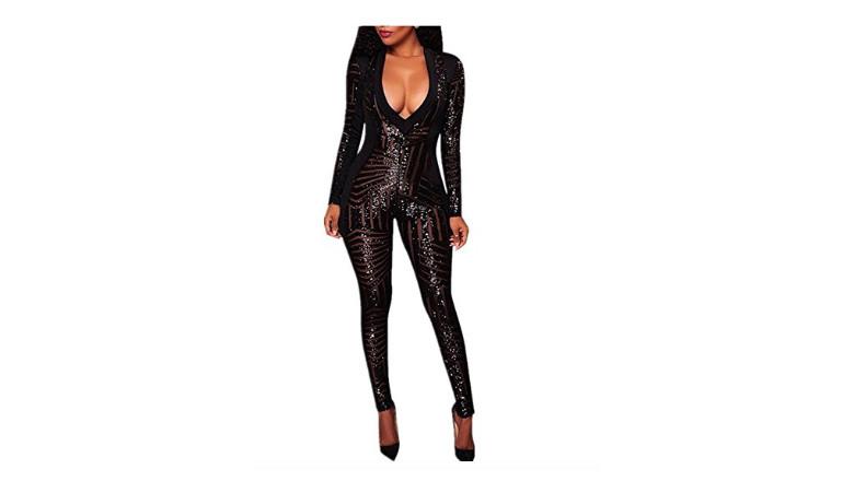 black full-length sequin bodysuit