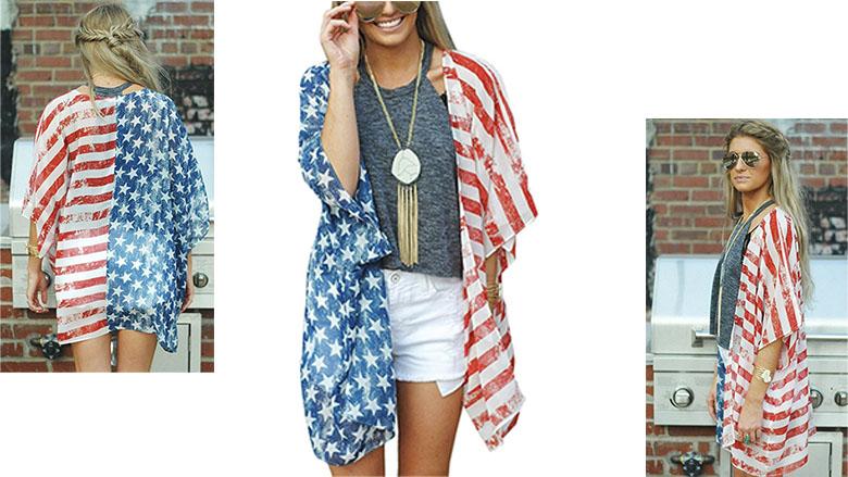 angashion womens american flag print kimono cover up