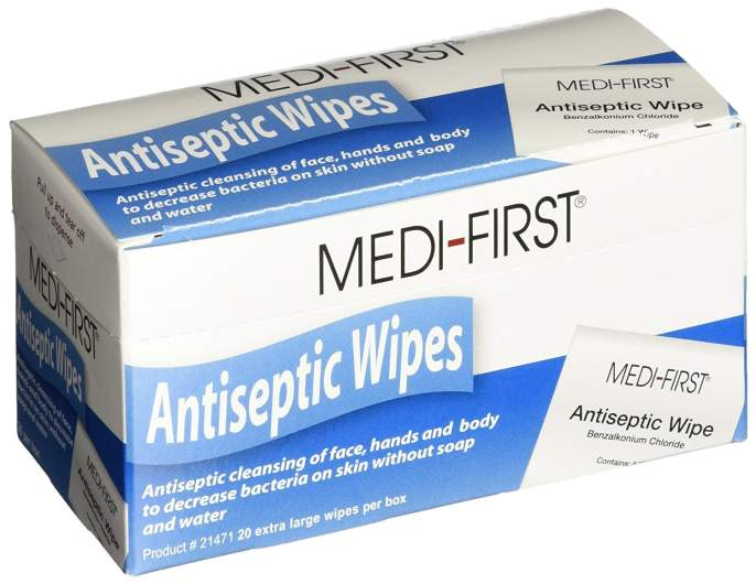 antiseptic first aid wipes
