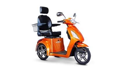 ewheels orange 3 wheel electric mobility scooter