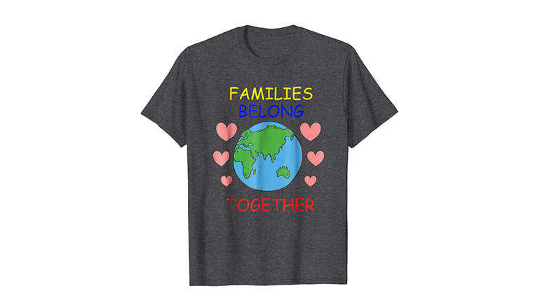 Families Belong Together protest shirt with globe and hearts