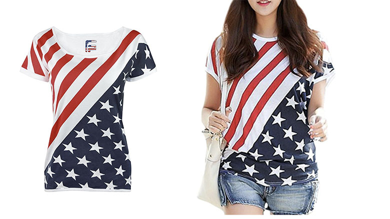 For g and pl womens july 4th american flag print top