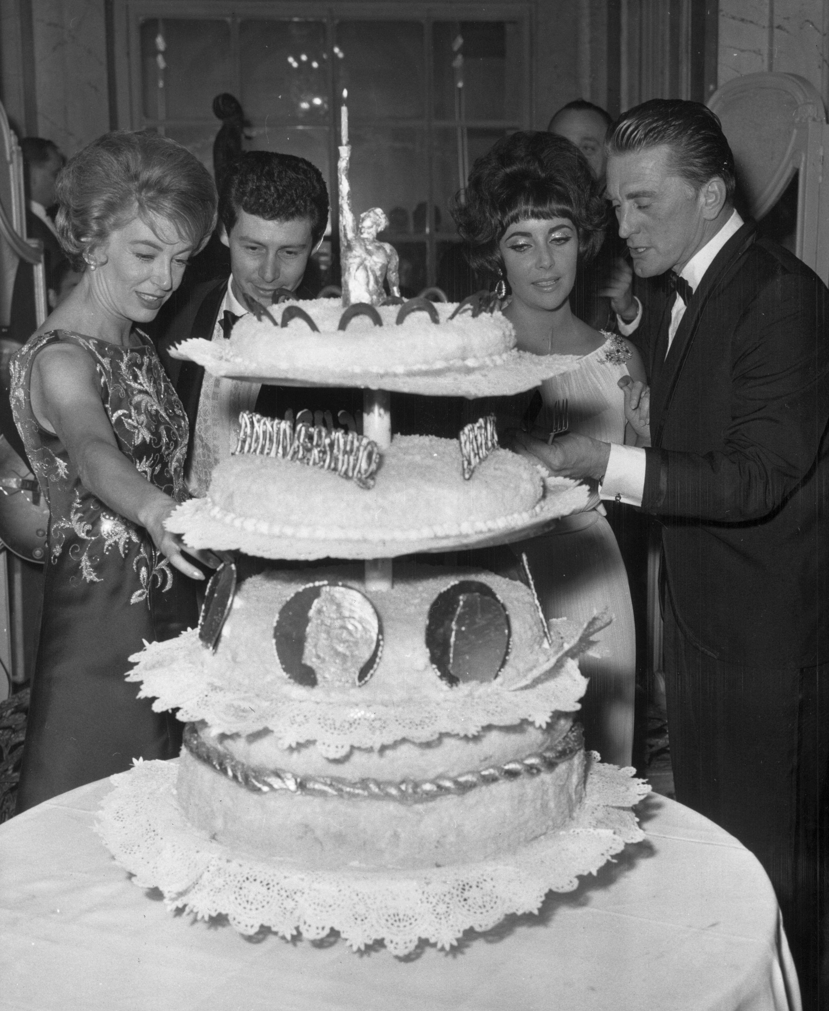 Anne Buydens and Kirk Douglas, Elizabeth Taylor and Eddie Fisher