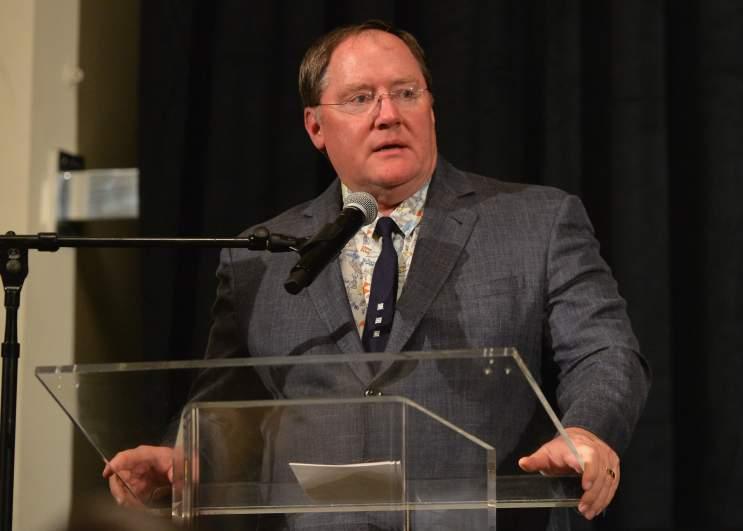 John Lasseter speaks at a benefit.