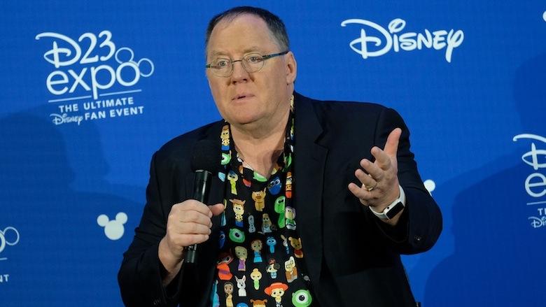 John Lasseter at a press conference.
