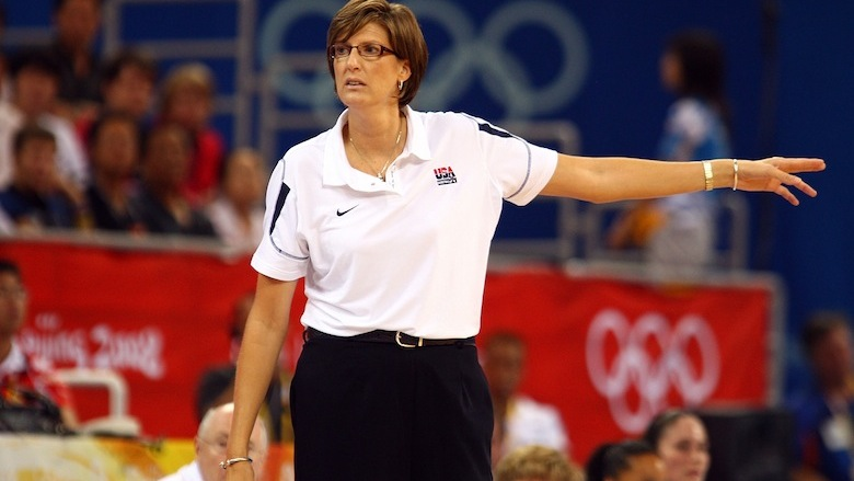 Anne Donovan coaches at the Olympics.