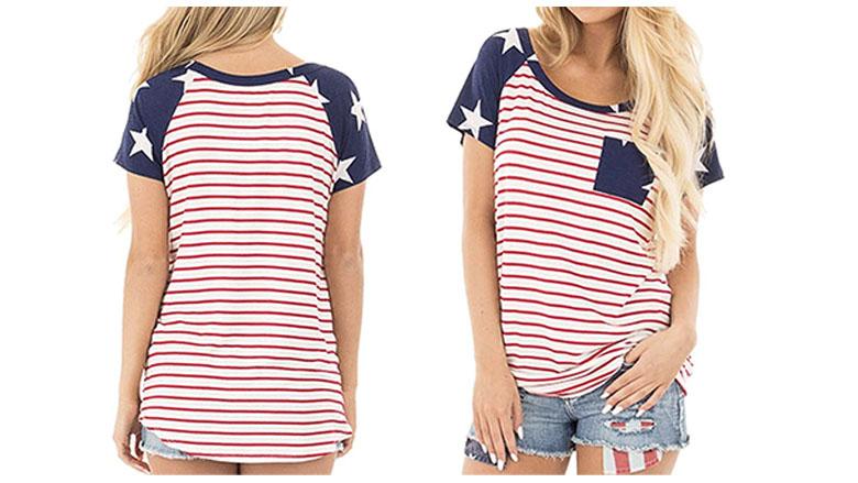 kancystore women's american flag short sleeve shirt
