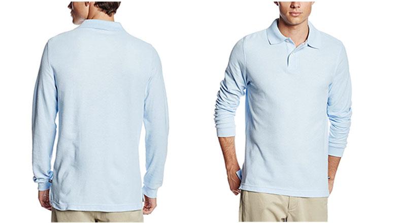 lee uniforms mens modern fit long sleeve polo shirt
