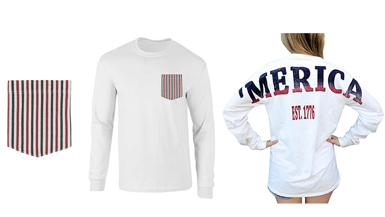merica stadium long sleeve jersey t-shirt with front pocket