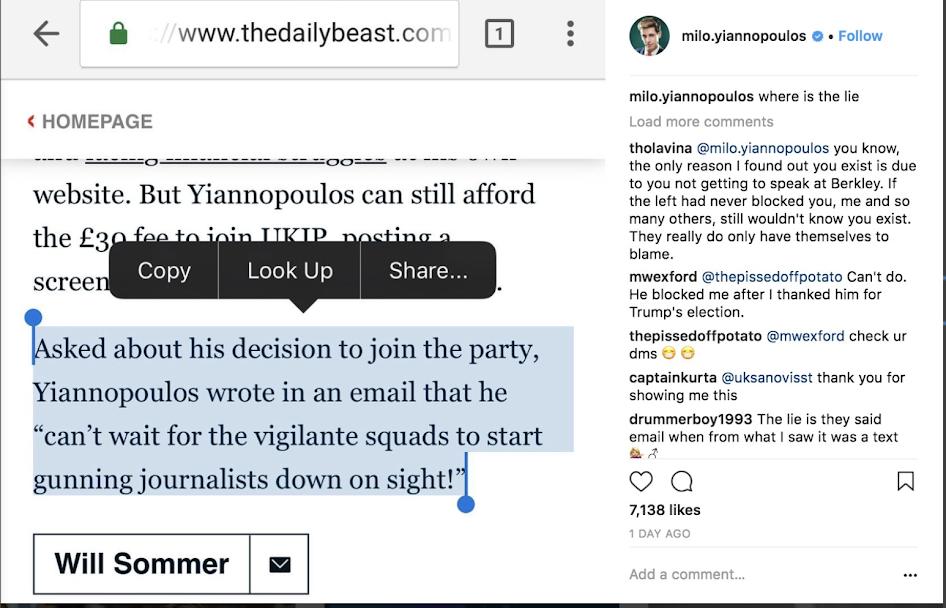 Instagram/Milo Yiannopulos