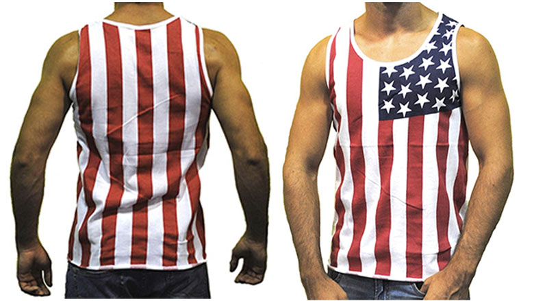 pacific surf mens american flag slim fit muscle shirt