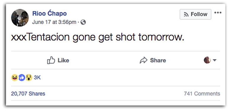 Rio Chapo XXXTentacion Facebook post