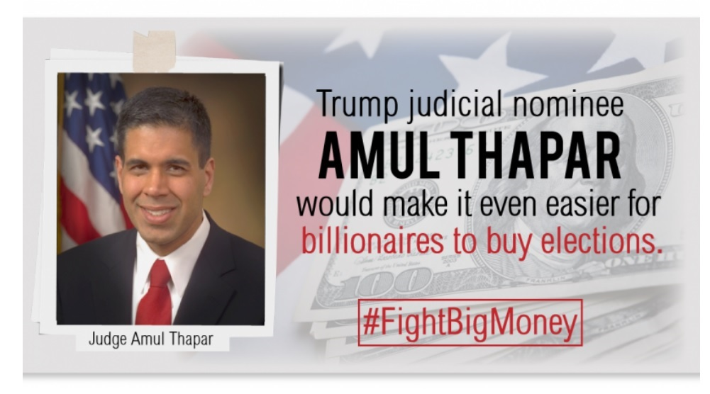 People for the American Way ad criticizing Thapar