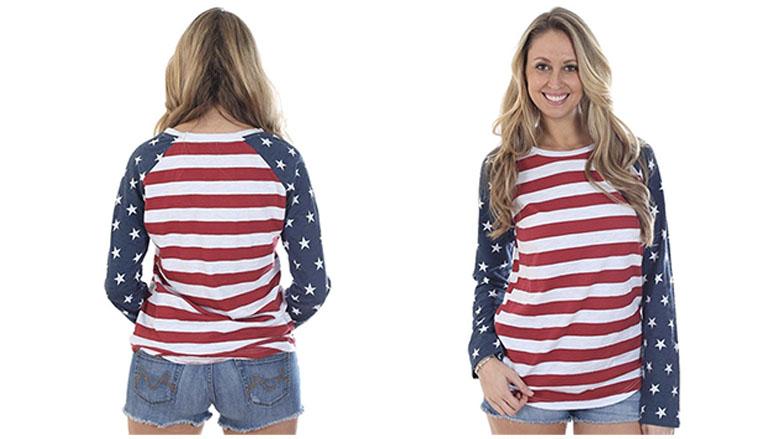 tipsy elves womens american flag raglan shirt