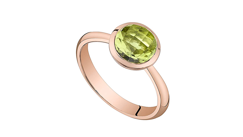 14l rose gold bezel set peridot solitaire dome ring