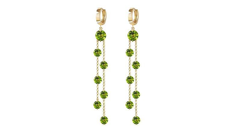 14k yellow gold chandelier earrings with dangling peridot stones