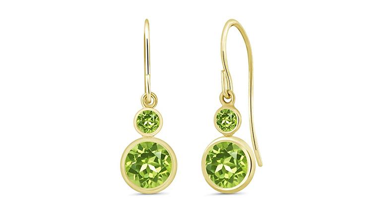 14k yellow gold double bezel set peridot drop earrings