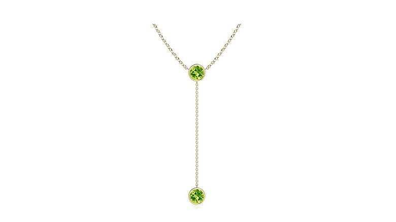 14k yellow gold & bezel set peridot drop necklace