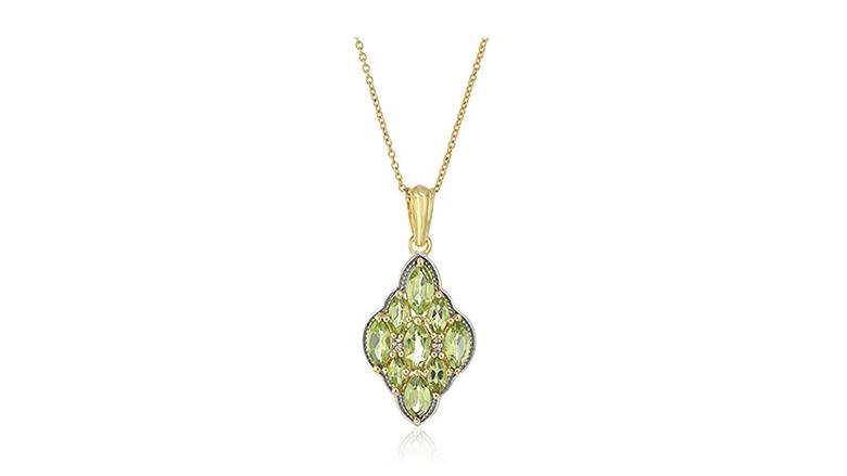 14k yellow gold plated white topaz & Peridot pendant necklace