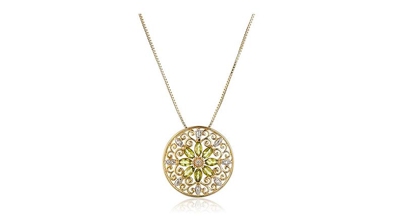 18k yellow gold plated sterling silver peridot & diamond filigree mandala necklace