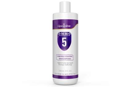 Purple and white bottle of Lipogaine shampoo