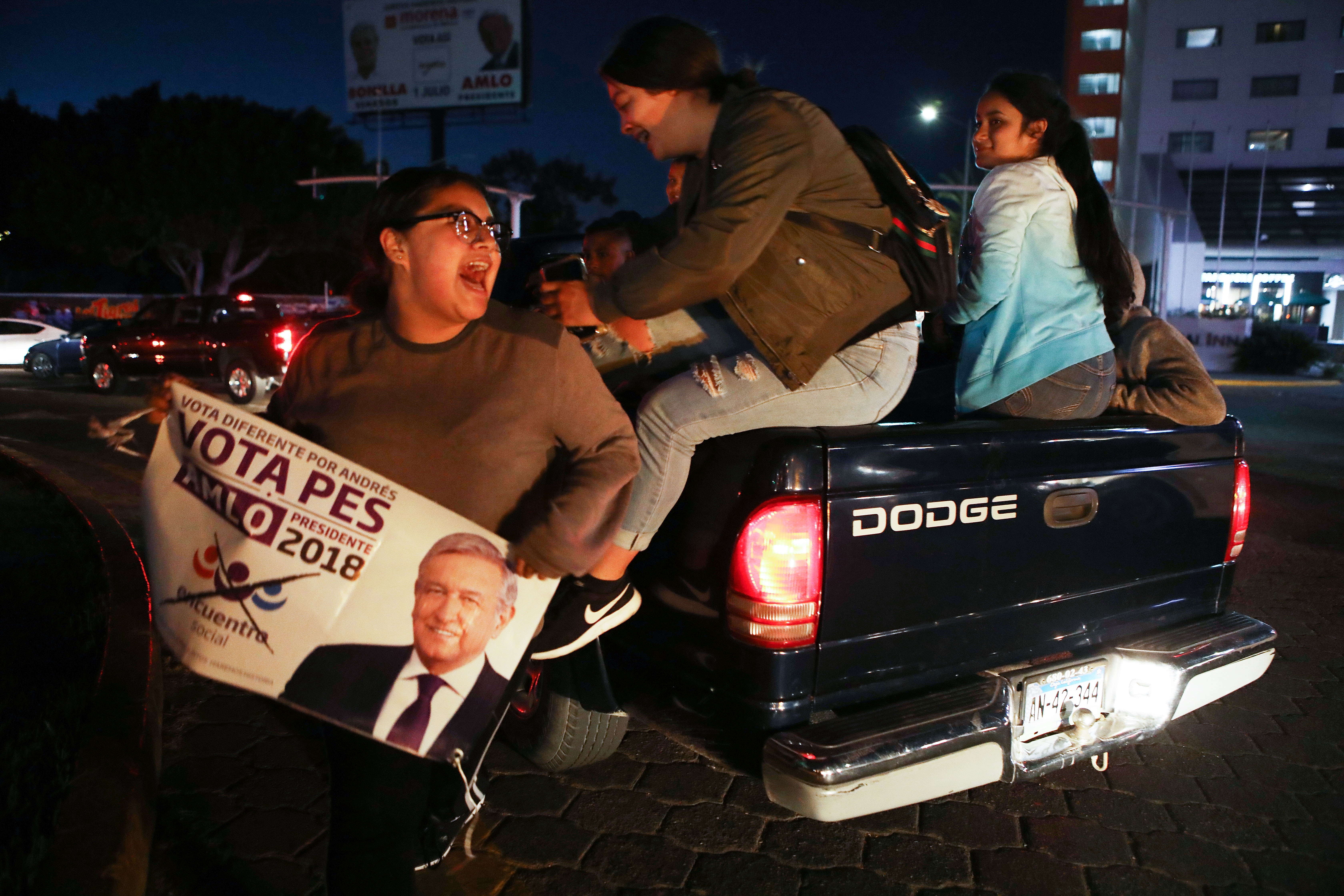 Lopez Obrador supporters on election night