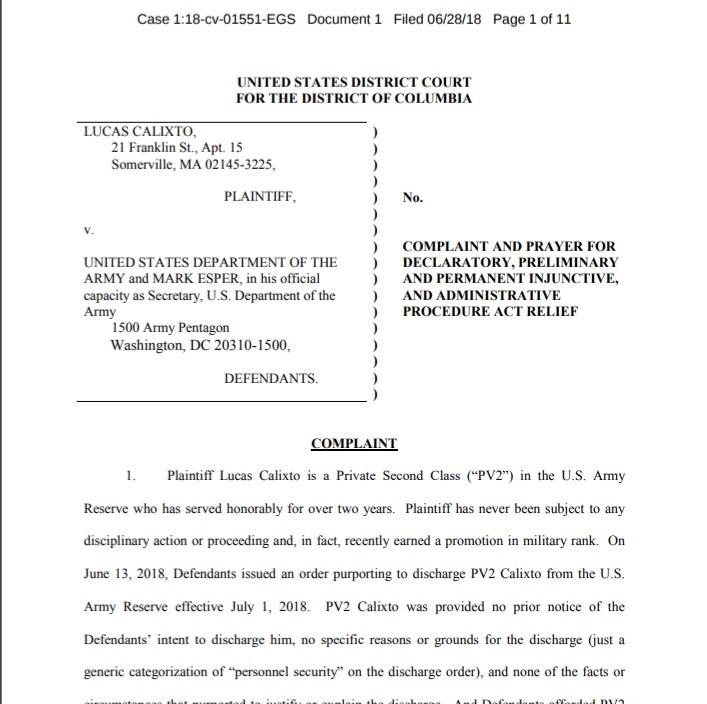 Lucas Calixto's legal filing