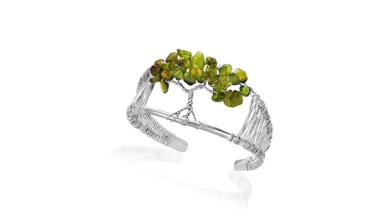 handmade silver wire peridot beaded tree of life cuff bracelet