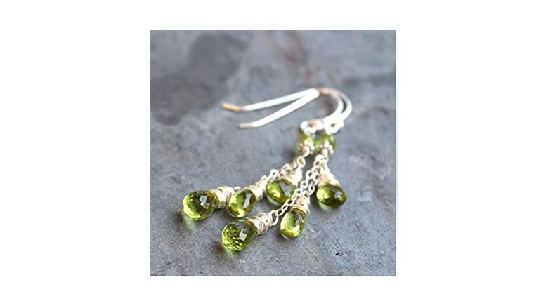 sterling silver wire wrapped peridot briolette dangle earrings