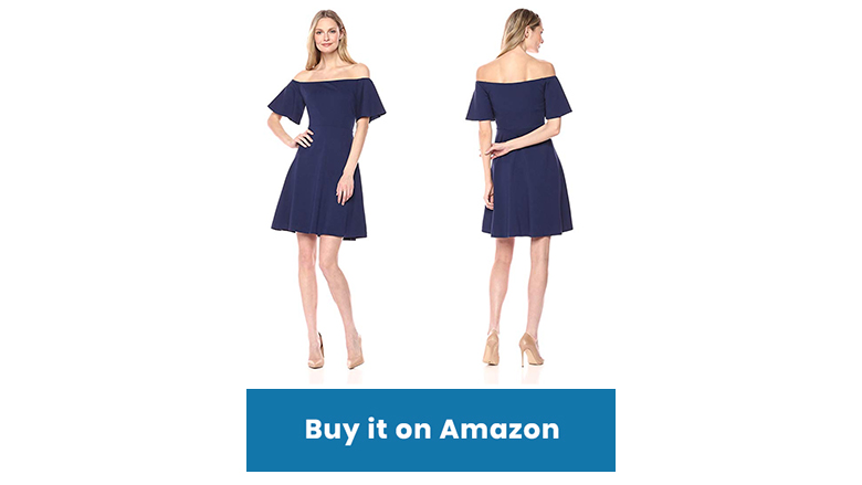 dark blue Lark & Ro fit and flare boat neck dress