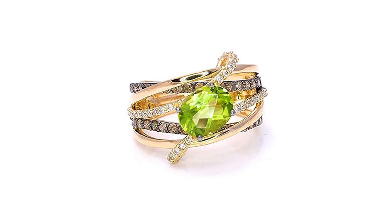 LeVian 14k yellow gold peridot & chocolate diamonds cocktail ring