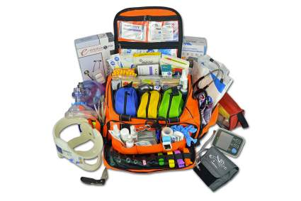 Lightning X Premium Stocked Modular EMS EMT Trauma First Aid Responder Medical Bag + Kit - Fluorescent Orange