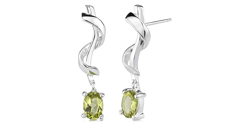 Oval cut peridot dangle stud earrings in sterling silver