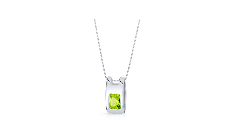 chunky sterling silver pendant with radiant cut peridot