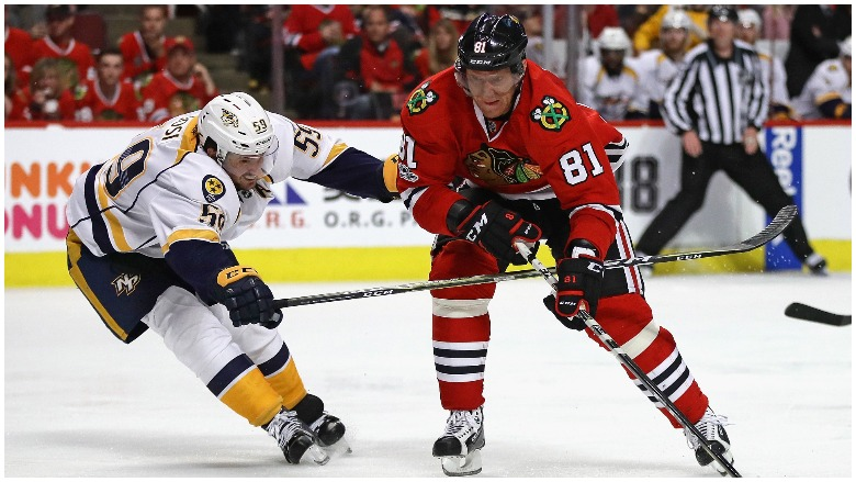Marian Hossa playing for the Chicago Blackhawks